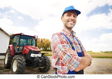 landwirt, stolz, von, seine, geschaeftswelt