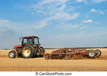 landwirtschaft, pflügen, traktor, draußen