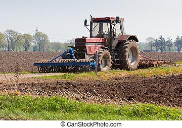 landwirtschaft, -, traktor, auf, der, feld