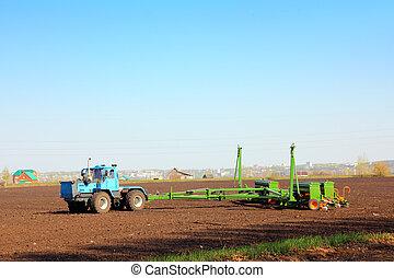 landwirtschaft, traktor, mit, bohrmaschiene