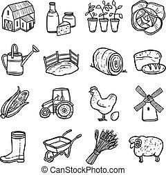 landwirtschaft, weißes, satz, schwarz, heiligenbilder