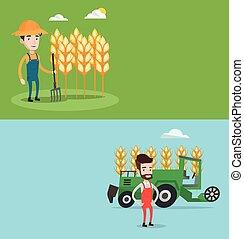 landwirtschaftlich, Banner,  Text, zwei, Raum