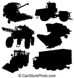landwirtschaftliche fahrzeuge, silhouetten, set., vektor, illustration.