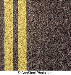 Lane - Double yellow line on asphalt texture