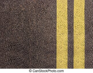 Double yellow lines on the edge of a lane
