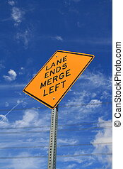 Lane Ends Road Sign