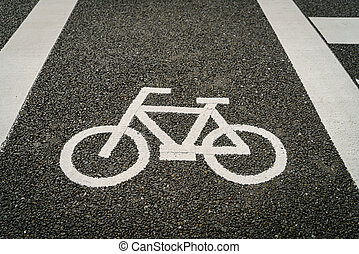 Lane for bicycle on the road