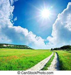 Lane in green meadow - Lane in meadow and deep blue sky. ...