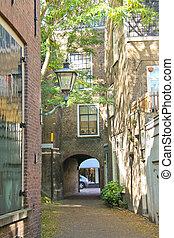 Lane in the Dutch city of Dordrecht. Netherlands