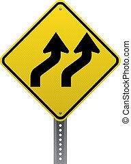 Lanes shifting sign - Lanes shifting traffic warning sign....