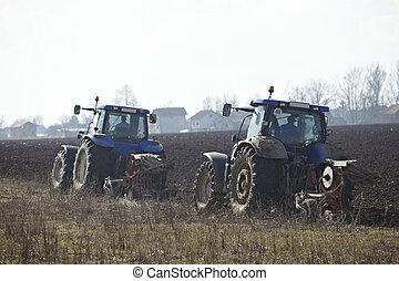 lanf, campo, cultivado, vegetal, agricultura, tractor