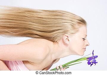 lang, blond haar