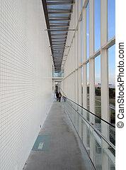 lang, gang, in, de, modern gebouw
