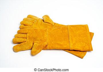 lang, leder glove, voor, lassen, industriebedrijven, bescherming, type, op wit, achtergrond.