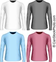 lang-sleeved, hemd, kleur, t, witte , black., varianten