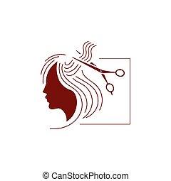 lang, stilist, salon, hairdressing, vector, meisje, gezicht, logo., beauty, haar, schaar