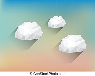 lang, wolken, poly, vaag, laag, achtergrond, schaduw