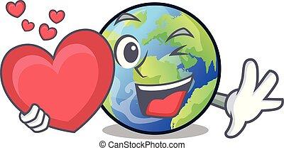 langait, cuore, terra, cartone animato, immagine