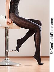 lange beine, in, stockings.