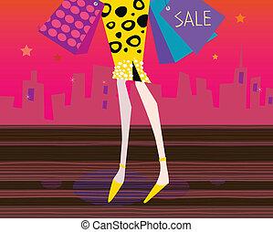 lange benen, vrouw, is, shoppen