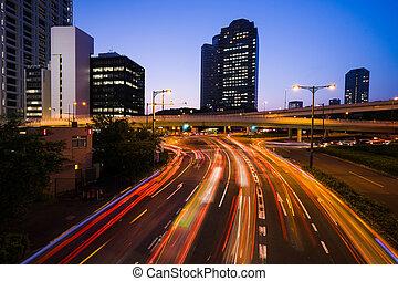 lange blootstelling, verkeer, scène, van, tokio