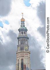 Lange Jan steeple in Middelburg, - Dramatic sky before the...