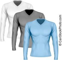 lange-mouw t-shirt, v-hals