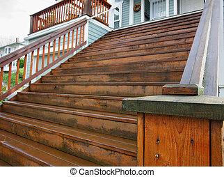 langer, daheim, holz, treppe
