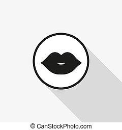 langer, lippen, vektor, hintergrund, schatten, ikone