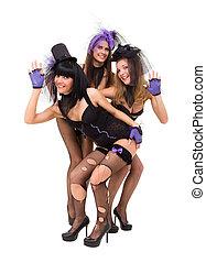 langerie, usar preto, mulheres, posar, três, excitado
