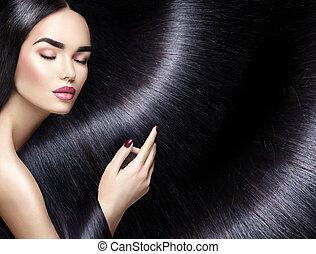 langharige, achtergrond., beauty, brunette, vrouw, met, recht, zwart haar