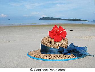 langkawi, 島, わら帽子, マレーシア, 浜, 砂