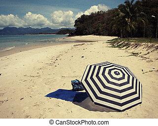 langkawi, 隔離された, 傘, 島, malaysi, しまのある, 浜