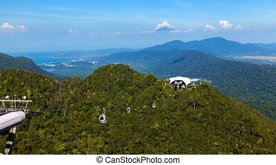 Langkawi Cable Car aerial landscape, Malaysia timelapse -...