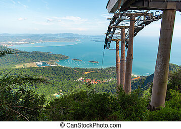 langkawi, coche, colinas, cable