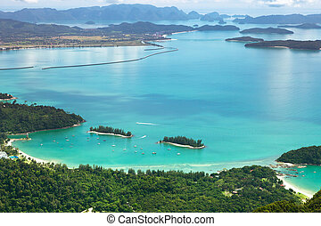 langkawi, deck., observación, isla, malaysia., vista