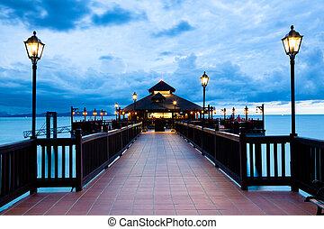 langkawi, ocaso, costa, malaysia., isla