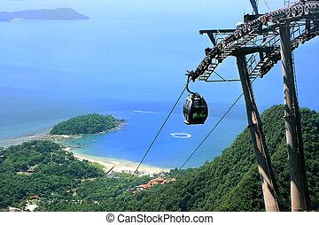 langkawi, puente, isla, cable, cielo, malasia, coche