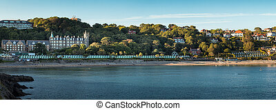 Panoramic of Langland Bay, a European Blue Flag awarded beach on the Gower peninsula, Swansea, South Wales.