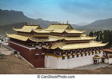 Langmusi temple ,sichuan, china - Langmusi temple in...