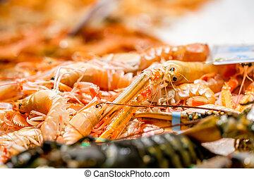 Langoustines at seafood market