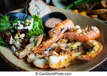 Langoustines - Icelandic cuisine made of lobster. Iceland national food.