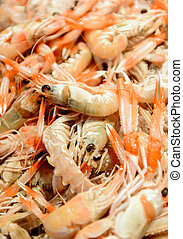 Langoustines at the fishmonger market stall