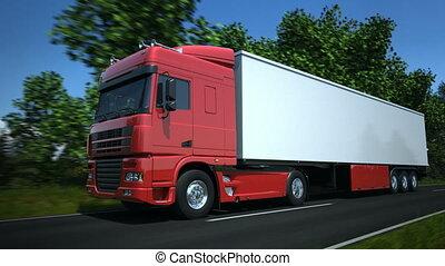 langs, straat, vrachtwagen, land, geleider