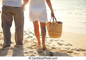 langs, strand, paar te lopen