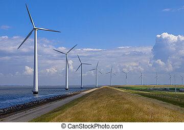 langs, windturbines, dijk, roeien