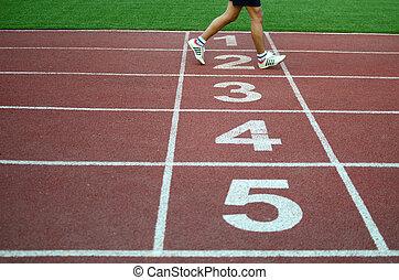 langsam, fotoapperat, athlet, nach, verwischt, verschluß, appretur, überfahrt, sprint, track., geschwindigkeit, linie