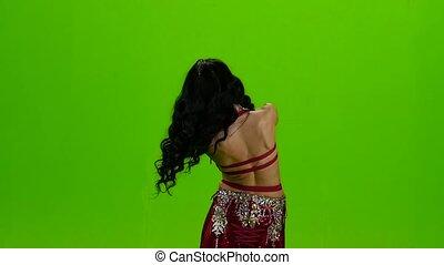 langsam, sie, tanzen, screen., bewegung, tänze, grün, bauch, einmalig, bewegungen