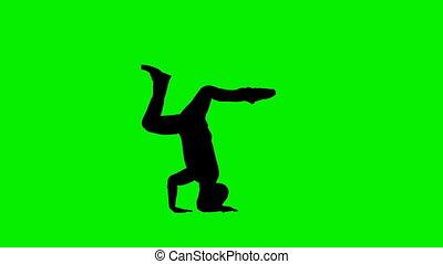 langsam, silhouette, klub, bewegung, schirm, tänzer, grün