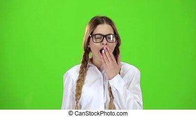 langsam, yawns., screen., bewegung, brille, grün, schueler